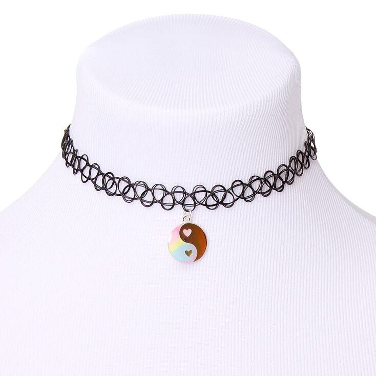 Mood Yin Yang Glitter Pastel Tattoo Choker Necklace,