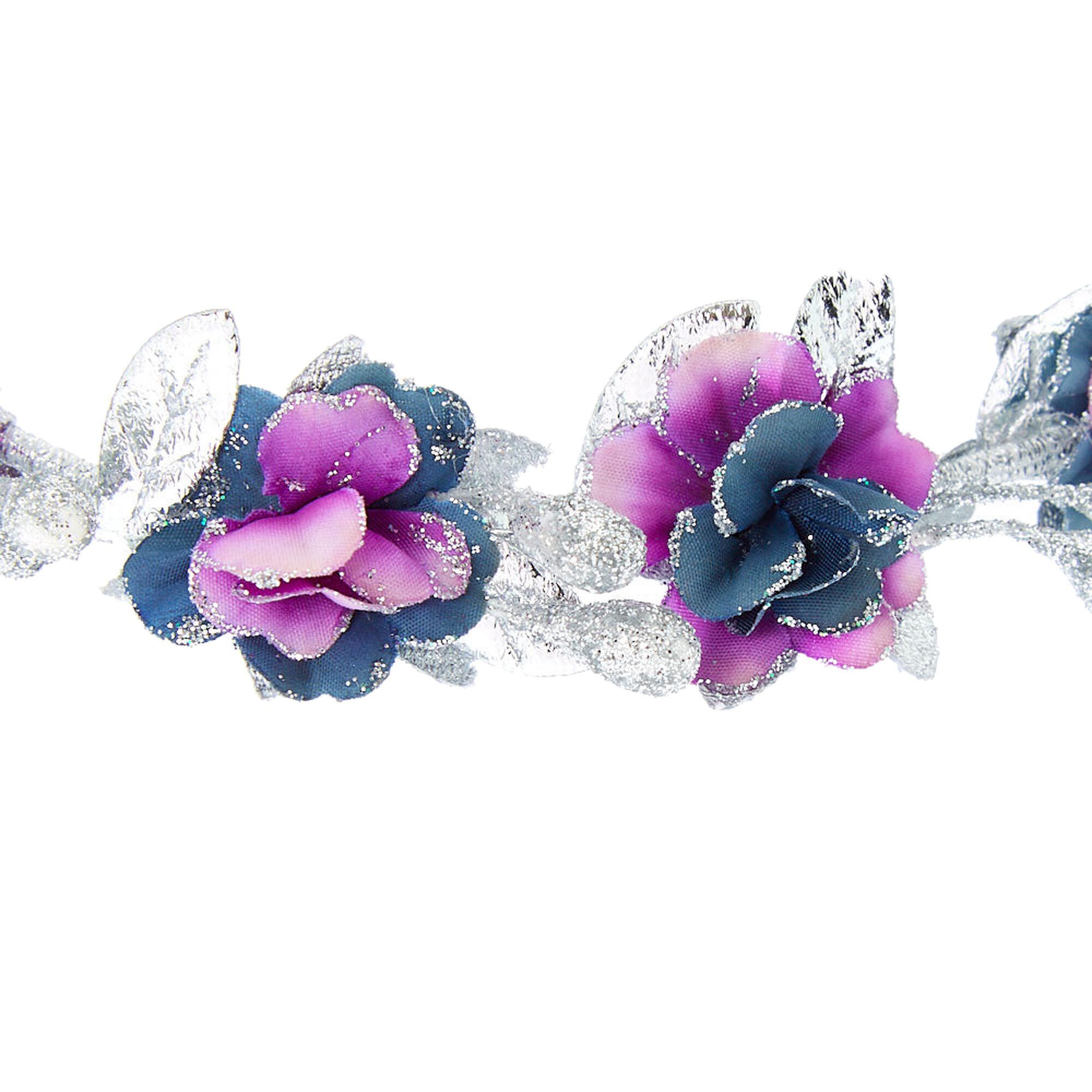 Silver Glitter Flower Crown Elastic Headwrap Purple Claires Us
