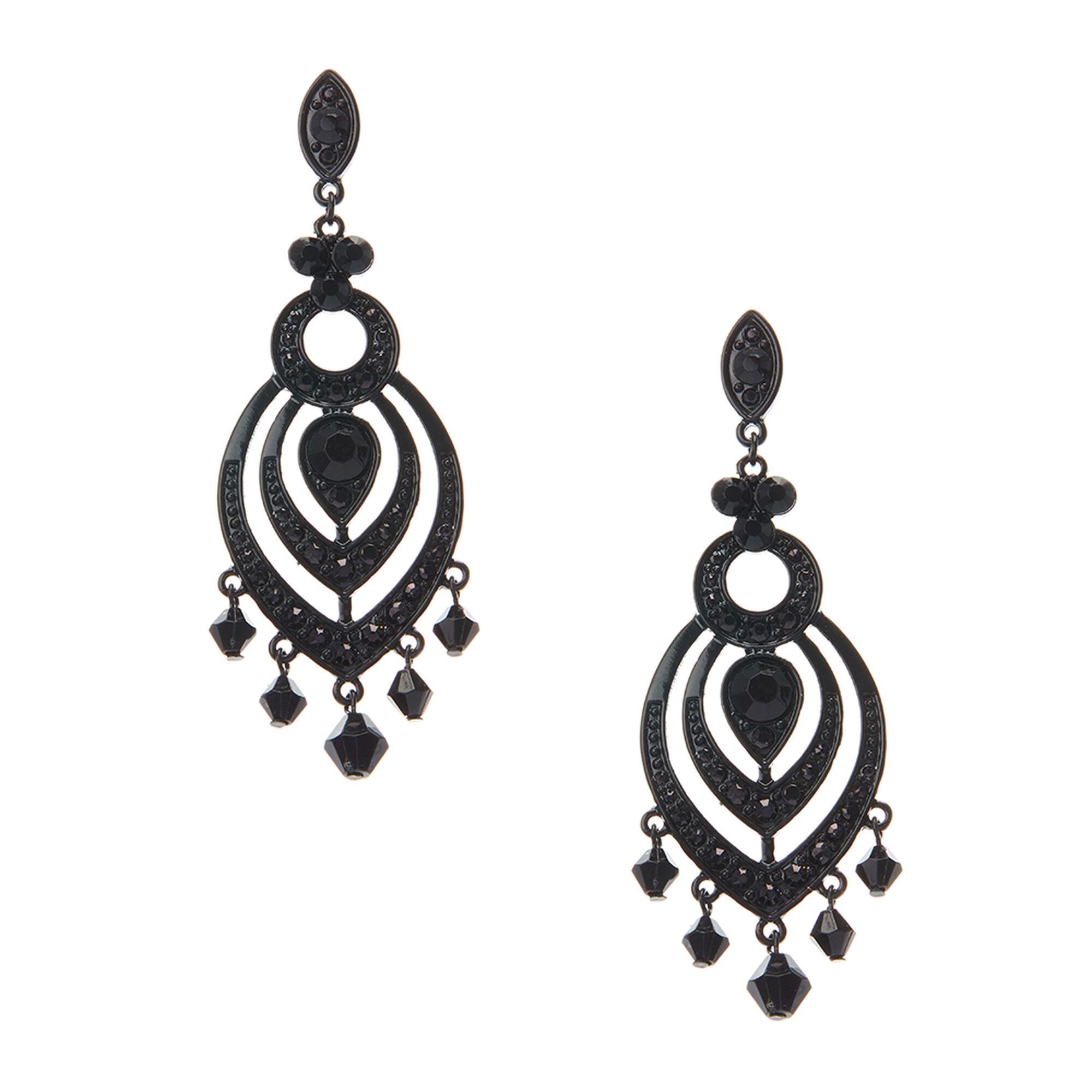 Large jet black chandelier drop earrings claires large jet black chandelier drop earrings arubaitofo Images