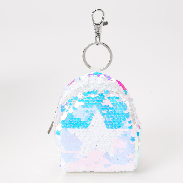 Holographic Sequin Star Mini Backpack Keychain,