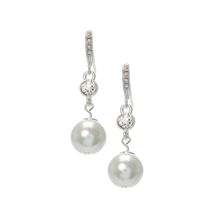 Linear Crystal Large Pearl Drop Earring Set