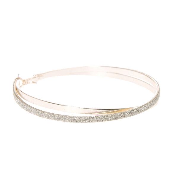 Claire's - glitter criss-cross hoop earrings - 2