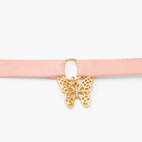 Gold Butterfly Charm Cord Choker Necklace - Pink,