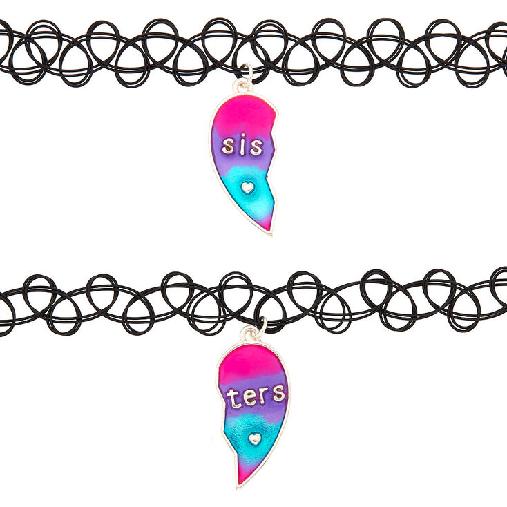 Sisters Ombre Heart Tattoo Choker Necklaces - 2 Pack,