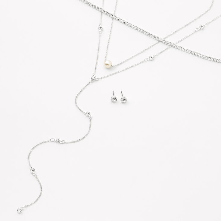 Silver Rhinestone & Pearl Necklaces - 3 Pack,