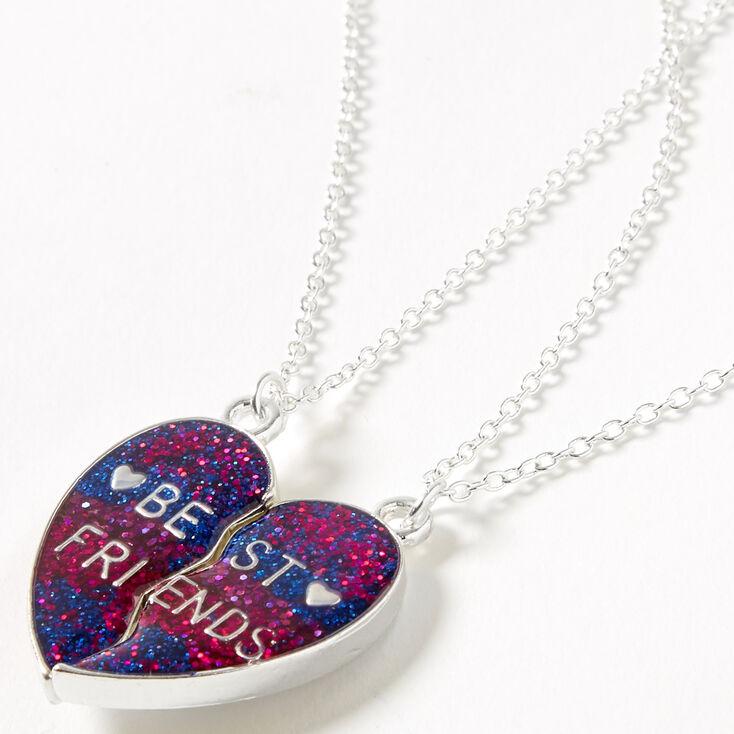 Best Friends Glitter Heart Pendant Necklaces - Magenta, 2 Pack,