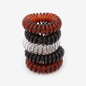 Solid Brown and Black Mini Coil Hair Ties - 5 Pack,