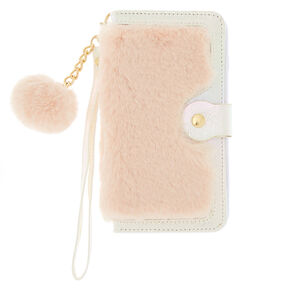 Blush Faux Fur Folio Phone Case - Fits iPhone 6/7/8/SE,