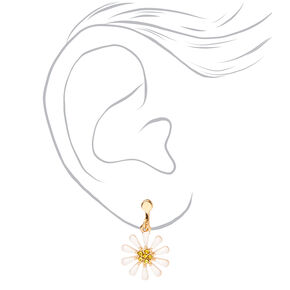 "Gold 1"" Daisy Clip On Drop Earrings - White,"