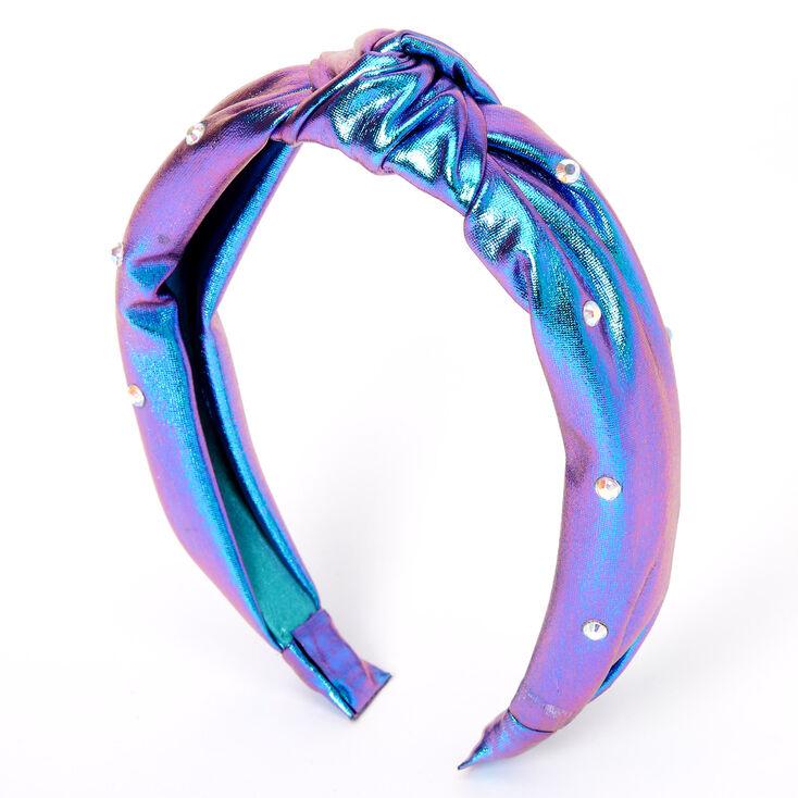 Metallic Oil Slick Mermaid Knotted Headband - Purple,
