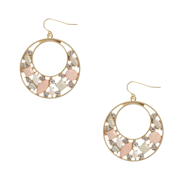 Pastel Stone And Scalloped Gold Disc Drop Earrings