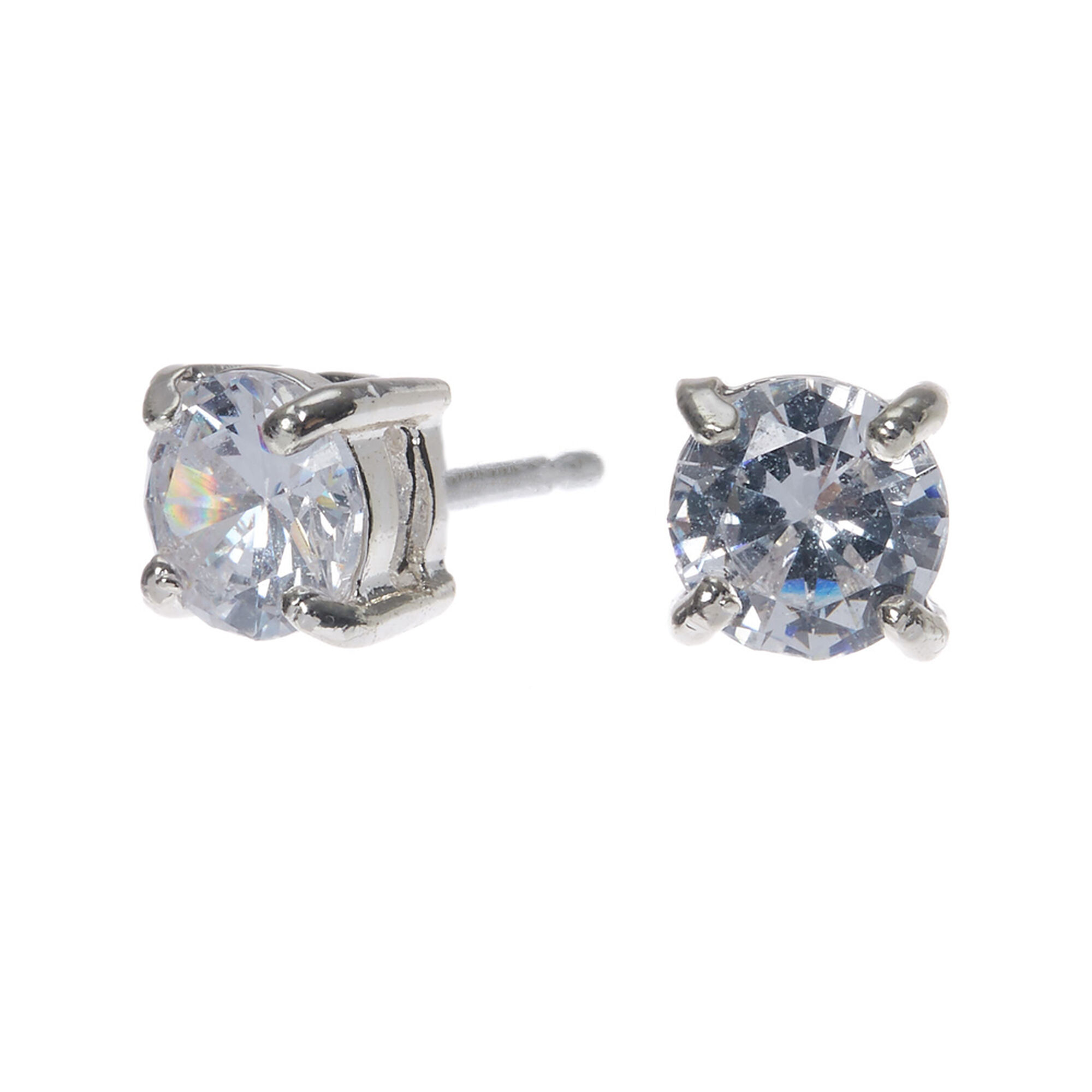 platinum stud bezel set cut round diamond earrings