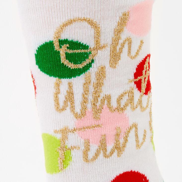 Oh What Fun! Polka Dot Crew Socks - White,