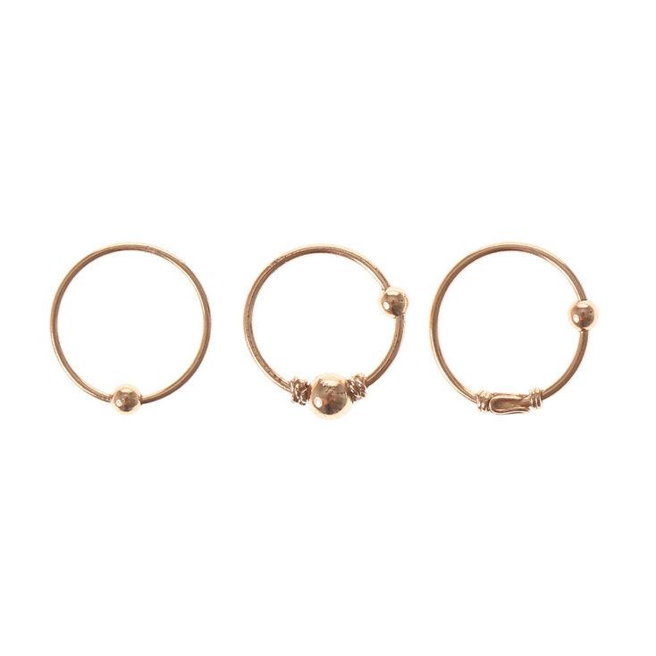 Rose Gold Sterling Silver Cartilage Hoop Earrings - 3 Pack,