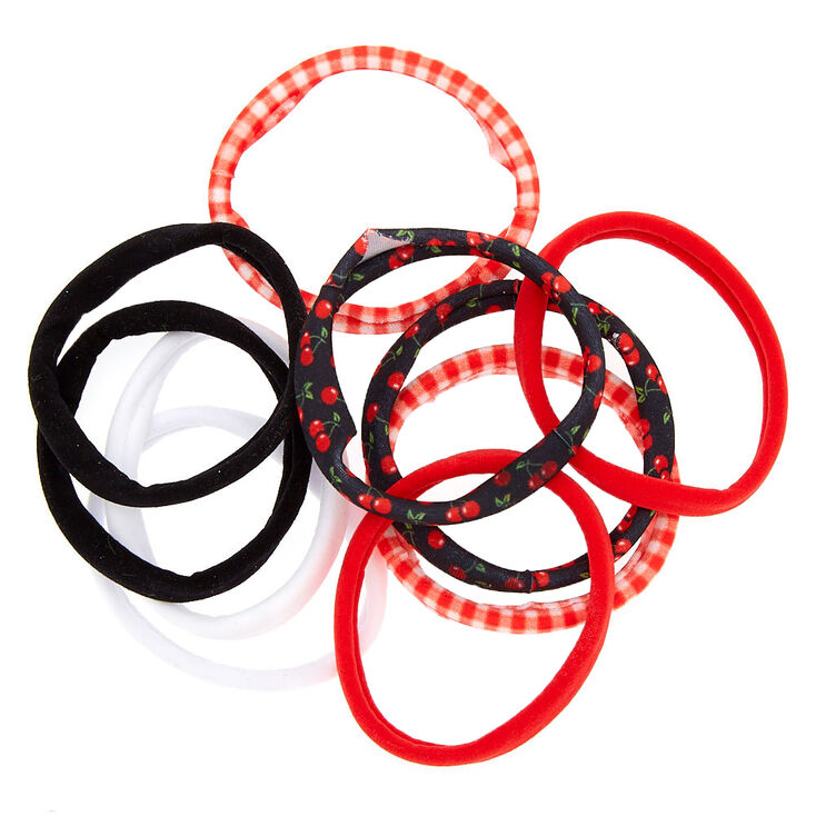 Cherry Gingham Rolled Hair Bobbles - Red, 10 Pack,