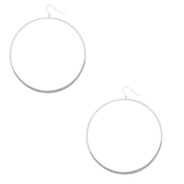 "Claire's - 3"" glitter large hoop drop earrings - 1"