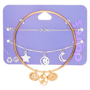 Mixed Metal Celestial Bracelets - 3 Pack,