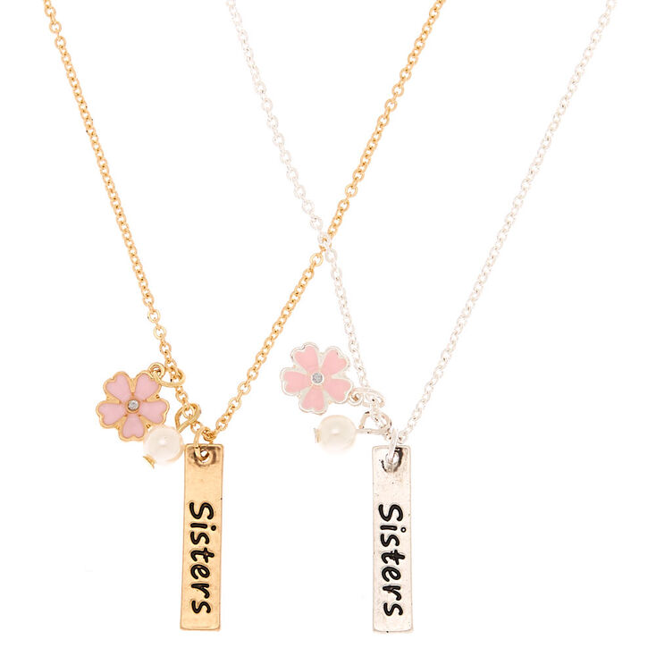 Mixed Metal Sisters Pendant Necklaces - 2 Pack,