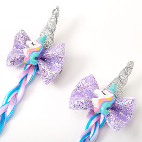 Claire's Club Unicorn Braided Faux Hair Clips - 2 Pack,