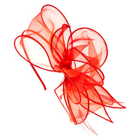Red Chiffon Bow Hair Fascinator,