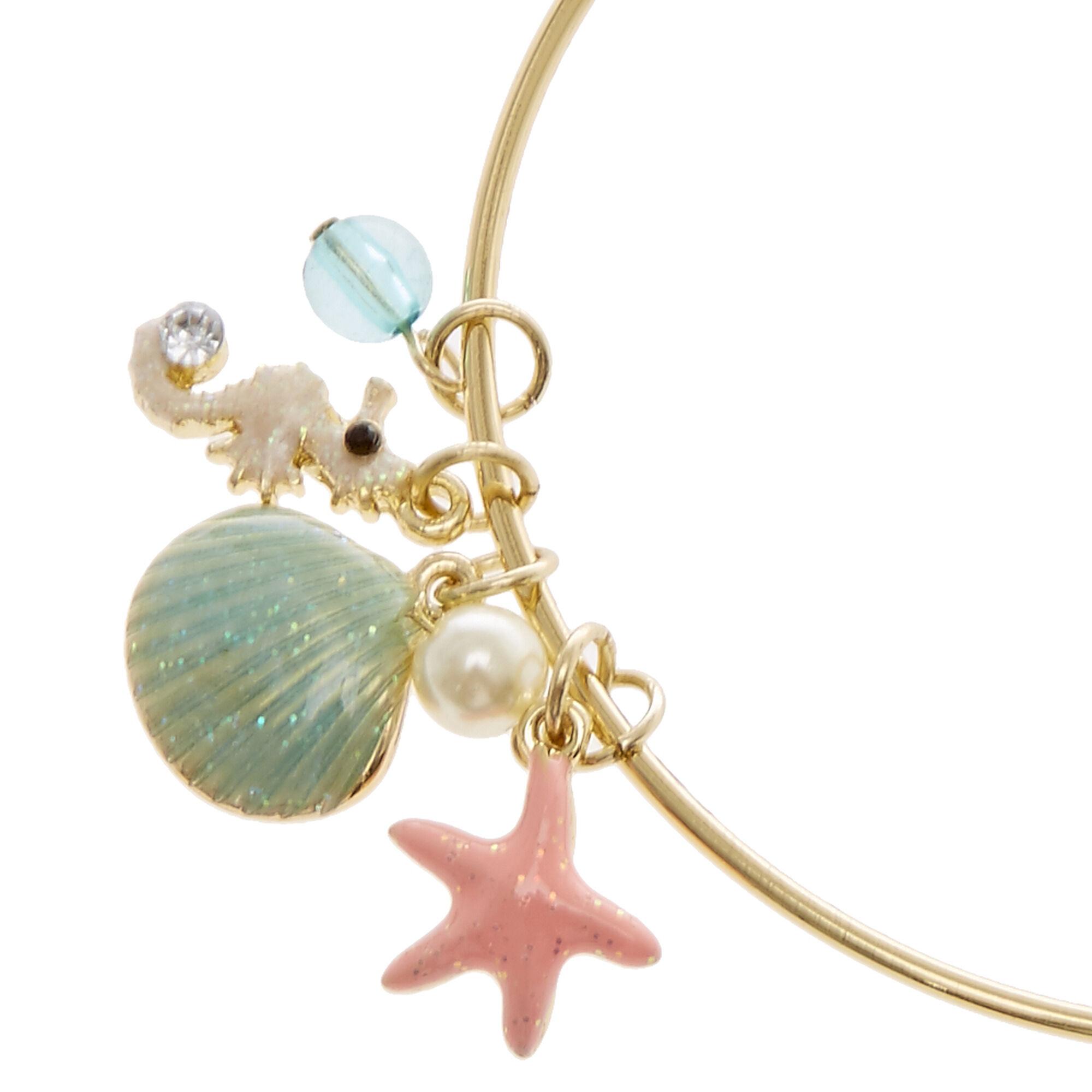 Sea Life Charms Gold Bangle Bracelet
