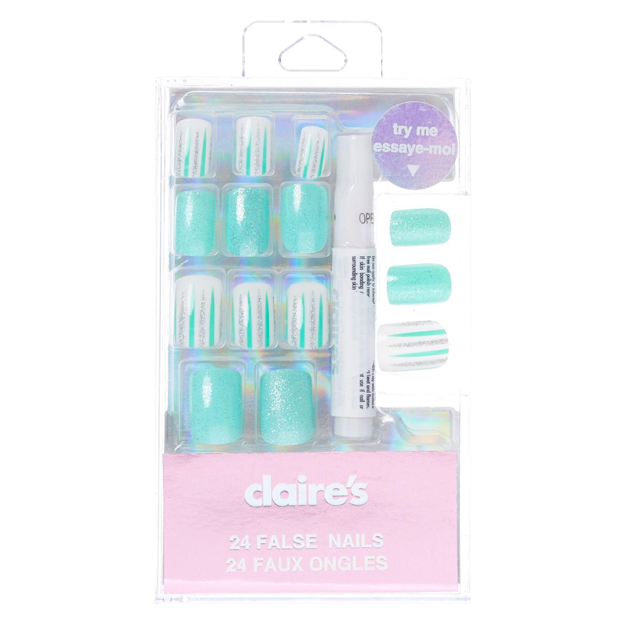 Mint Green Glitter & Striped Square False Nails   Claire\'s US