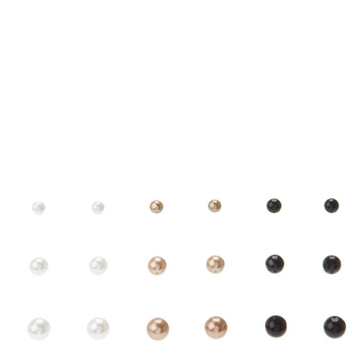 Lot de 9 clous d'oreille avec perle d'imitation couleur argentés, couleur dorées et noires,