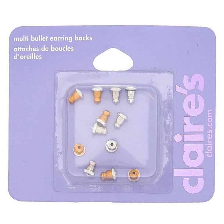 Mixed Metal Bullet Earring Backs - 12 Pack,