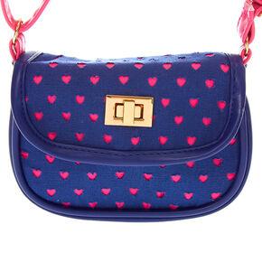Claire's Club Hearts Crossbody Bag - Navy,