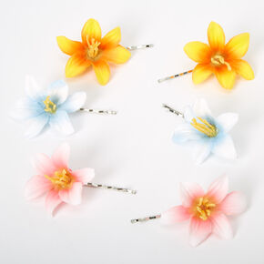 Tropical Orchid Flower Hair Pins - 6 Pack,