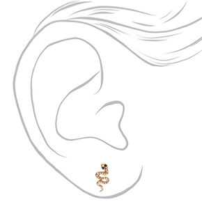 Gold Embellished Snake Stud Earrings,