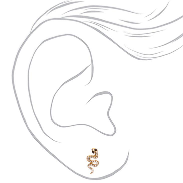 Gold Embellished Snake Stud Earrings,