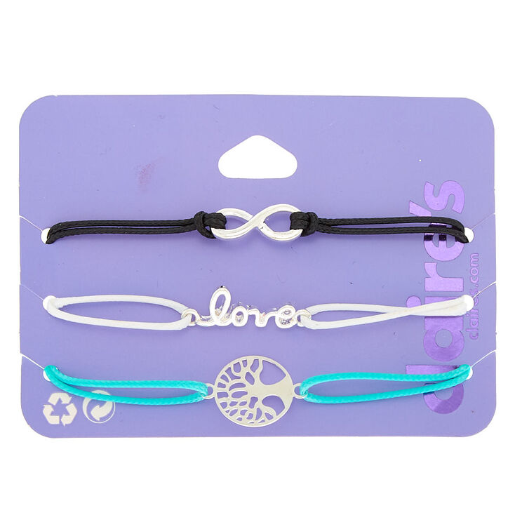 Silver Infinity Love Tree Of Life Chain Bracelets - 3 Pack,