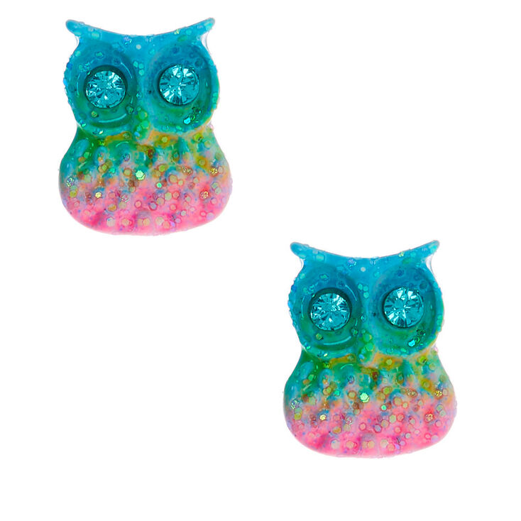 Silver Pastel Rainbow Owl Stud Earrings,