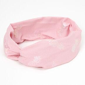 Metallic Pineapple Twisted Wide Jersey Headwrap - Pink,