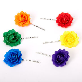 Rainbow Flower Hair Pins -  6 Pack,