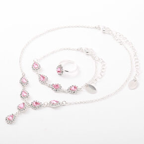 Claire's Club Embellished Teardrop Jewellery Set - Pink,