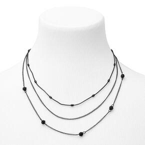 Black Fireball Multi Strand Chain Necklace,