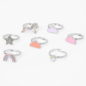 Claire's Club Unicorn Rainbow Rings - 7 Pack,