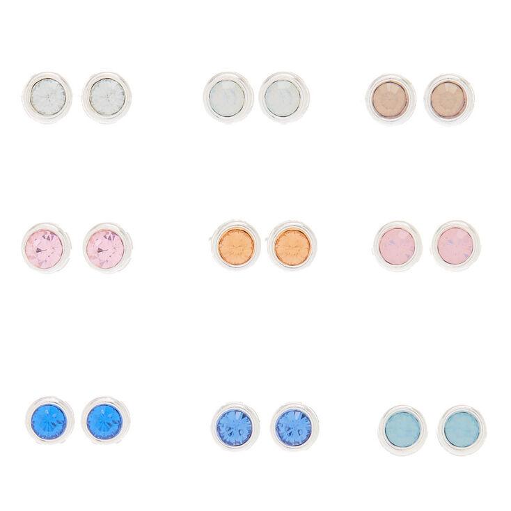 9 Pack Pastel Faux Crystal Stud Earrings,