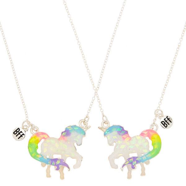 Claire's - best friends holographic majestic unicorn pendant necklaces - 1