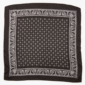 Bandeau bandana soyeux imprimé floral et cachemire - Noir,