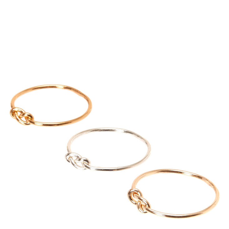 Mixed Metal Knotted Rings - 3 Pack,