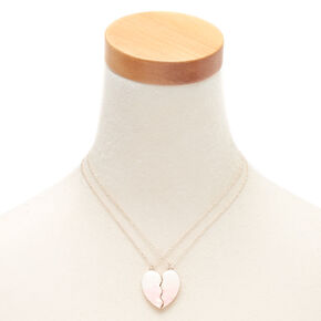 Best Friends Heart Confetti Pendant Necklaces - Pink, 2 Pack,