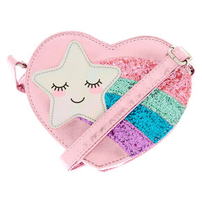 Claire's Club Shooting Star Crossbody Bag - Pink,