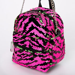 Reversible Sequin Zebra Mini Backpack Crossbody Bag,