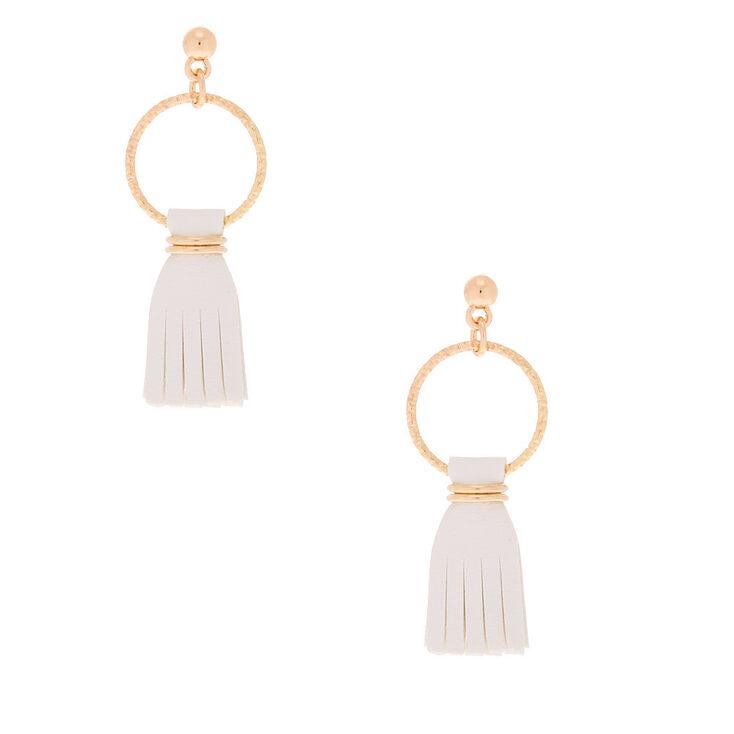 """Gold 1.5"""" Leather Tassel Drop Earrings - White,"""