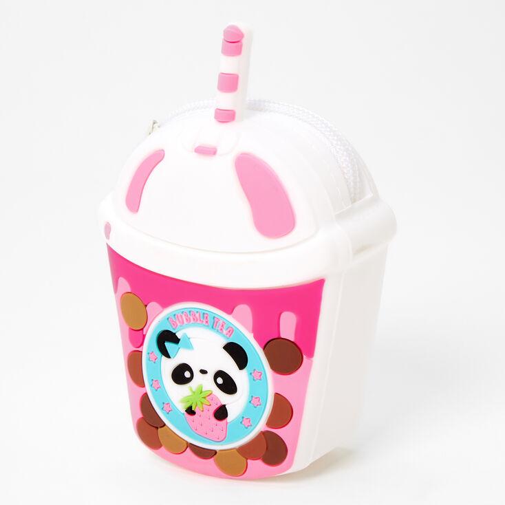 Porte-monnaie en silicone thé aux perles panda - Rose,
