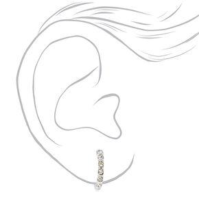 Silver 10MM Crystal Clip On Hoop Earrings,