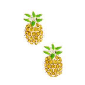 Embellished Pineapple Stud Earrings - Yellow,